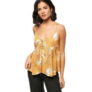 O'Neill Madison smocked yellow floral tank top sm